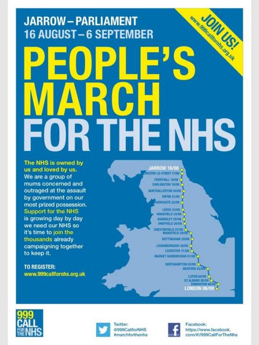 People's March for the NHS map with dates