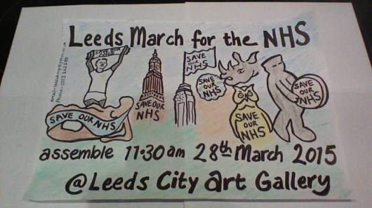 hand drawn leeds banner showing date time and pictures of dodgy corporateers